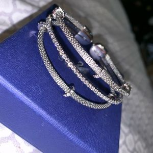 Swarovski Cuff, sterling silver with crystals